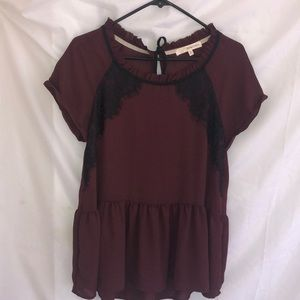 Tops - Burgundy and Black Blouse